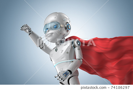 Cute robot with cartoon character wear red cloak 74186297