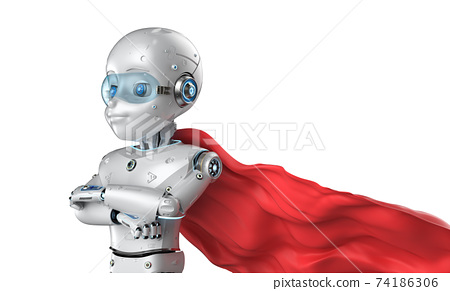 Cute robot with cartoon character wear red cloak 74186306