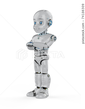 Cute robot with cartoon character folded arms 74186309