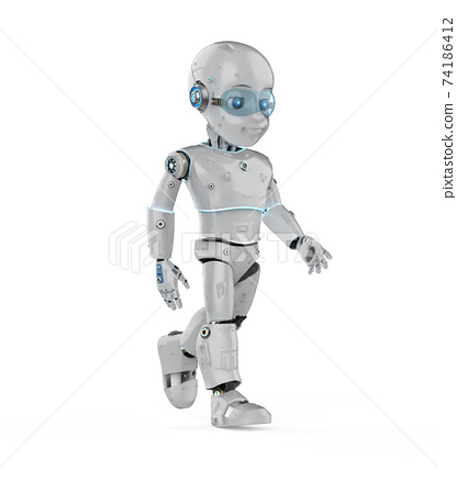 Cute robot with cartoon character walk 74186412