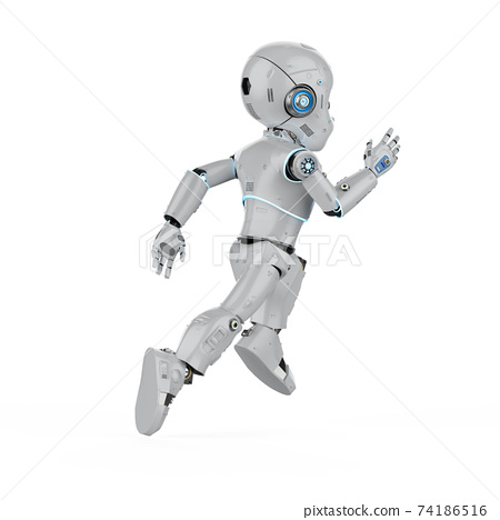 Cute robot with cartoon character 74186516