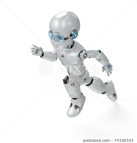 Cute robot with cartoon character 74186583