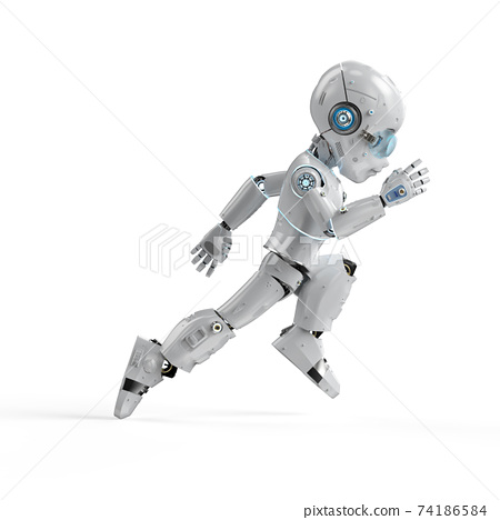 Cute robot with cartoon character 74186584