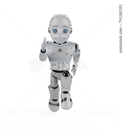 Cute robot with cartoon character 74186585