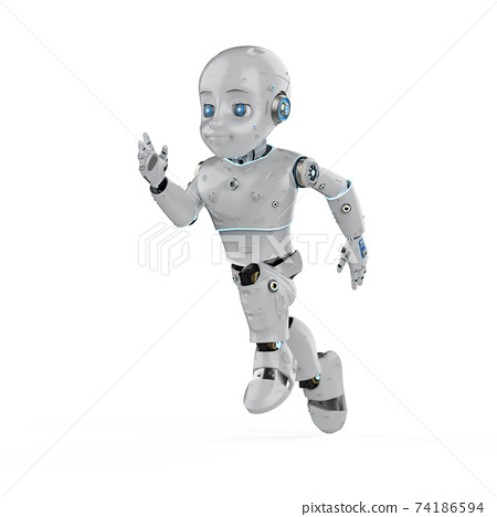 Cute robot with cartoon character 74186594
