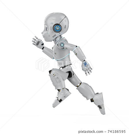 Cute robot with cartoon character 74186595