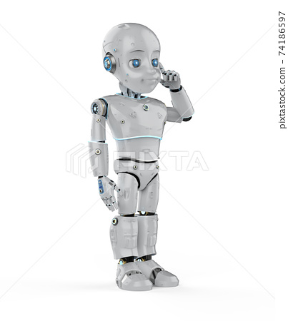 Cute robot with cartoon character think 74186597