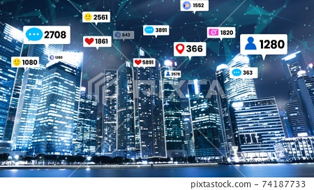 Social media icons fly over city downtown showing people engagement connection 74187733