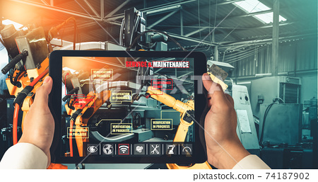 Engineer controls robotic arms by augmented reality industry technology 74187902