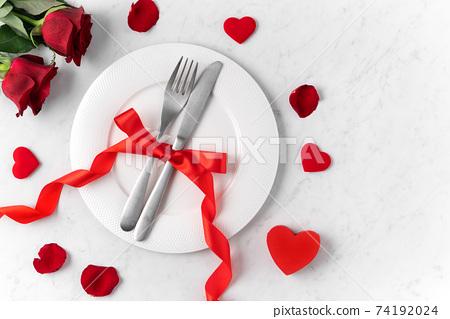 情人節 餐廳 盤子 頂視圖 紅色 玫瑰 Valentine's Day Plate バレンタイン 74192024