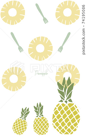 Illustration of pineapple drawn in a print style 74195086
