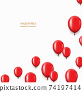 Vector modern red balloons background for happy birthday or valentine day. 74197414