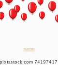 Vector modern red balloons background for happy birthday or valentine day. 74197417
