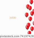 Vector modern red balloons background for happy birthday or valentine day. 74197428