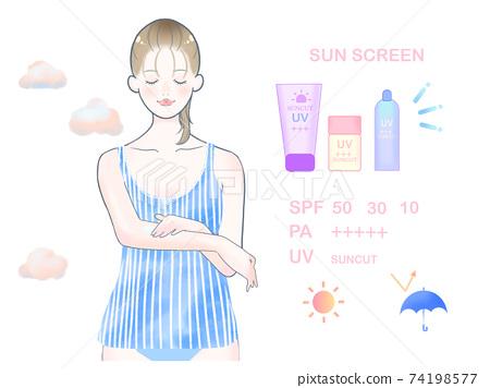 女人塗防曬霜/藍色 74198577