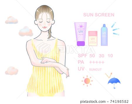 女人塗防曬霜/黃色 74198582