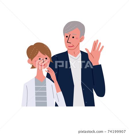中老年人男女高級夫婦插畫上半身 74199907