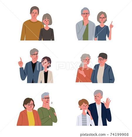 中年男女老年夫婦插圖上半身套 74199908