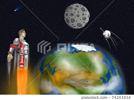60th anniversary of the first manned flight into space. An astronaut who conquered space. 74203838