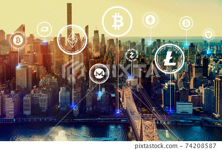 Cryptocurrency theme with New York City 74208587