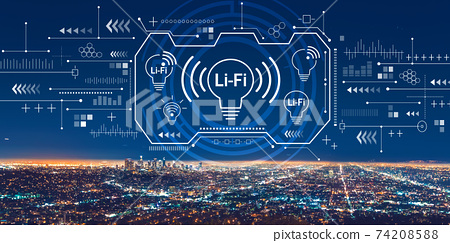 LiFi theme with downtown Los Angeles 74208588