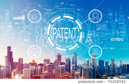 Patent concept with downtown Chicago cityscape 74208592
