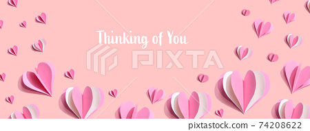 Thinking of you message with pink paper hearts 74208622