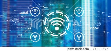 Wifi theme with downtown skyline 74208657