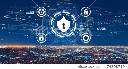 Cyber security theme with downtown Los Angeles 74208719