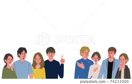各種各樣的人,許多男人和女人,夫婦,人,橫幅的插圖 74213300