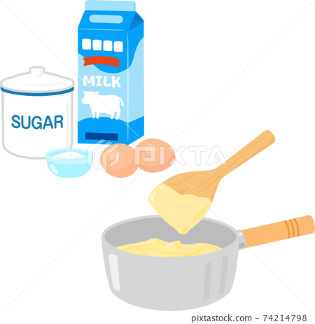Custard cream and ingredients in a pan 74214798