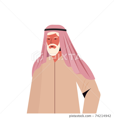 old arab man in traditional clothes senior arabic male cartoon character gray haired grandfather portrait 74214942