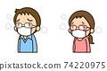 戴著眼鏡戴著面具的男人和女人(上半身) 74220975