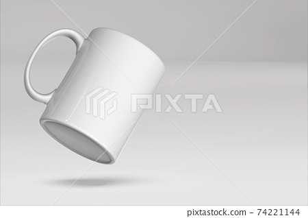 Blank mug mockup isolated on colored 3D rendering. added copy space for text. suitable for your design project. 74221144
