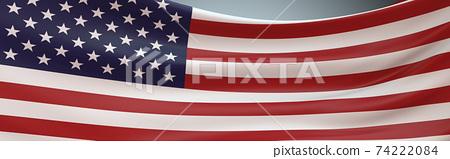 USA Flag swaying panoramic full frame. 74222084