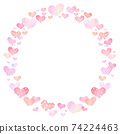Circle card Frame Border with hand draw heart pattern 74224463