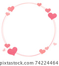 card Frame Border with hand draw heart pattern 74224464