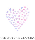 Watercolor feeling heart pattern illustration 74224465