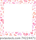 card Frame Border with hand draw heart pattern 74224471