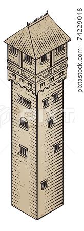 Medieval Building Map Icon Vintage Illustration 74229048