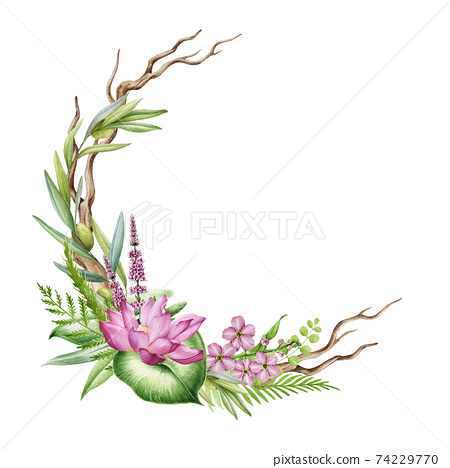 Floral realistic wreath watercolor illustration. Hand drawn rustic half wreath from river side flowers. Pink lotus blossom, lavender, tree branch, grass spikelet round decoration on white background 74229770