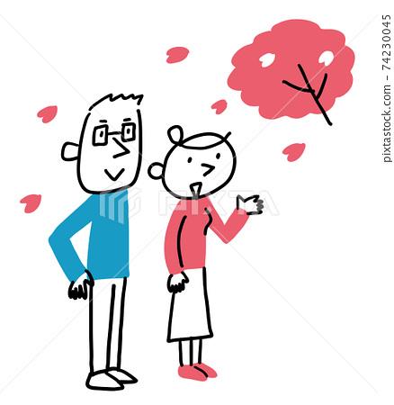 벚꽃을보고있는 남녀 전신 74230045