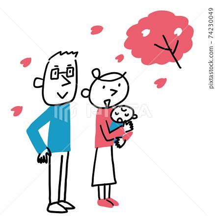 벚꽃을보고있는 부부와 아기 전신 74230049