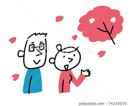 벚꽃을보고있는 남녀 상반신 74230050