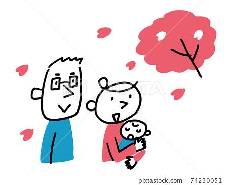 벚꽃을보고있는 부부와 아기 상반신 74230051