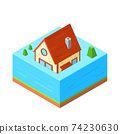 Icon House in isometric style, vector illustration 74230630