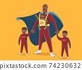 Super Dad. Dad with his three children 74230632