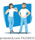 Man and woman in blank white t-shirt 74230633