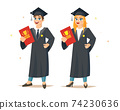 Smiling girl and boy are graduates 74230636