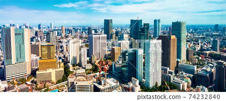 Aerial view of the Toranomon, Tokyo skyline 74232840